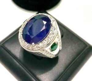 Sterling Silver Natural Blue Sapphire, Emerald n CZ Men Fine Ring 8 to 15/22
