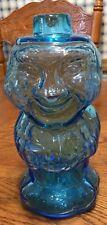"VINTAGE HAND BLOWN TURQUOISE BLUE GLASS MAN SHAPED BOTTLE DECANTER 9 3/4"""