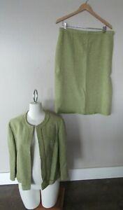 VTG PENDLETON Womens Size 16 Lined Suit Set Blazer Jacket Green & Cream Wool