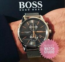 NEW HUGO BOSS 1513440 STAINLESS STEEL MESH GREY JET MENS WATCH UK