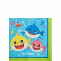 BABY SHARK BEVERAGE NAPKINS PACK OF 16 PARTY FAVOURS SUPPLIES