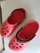 PINK & BLACK MICKEY MOUSE CROCS BEACH SANDALS SHOES SIZE 4 V.G.C.