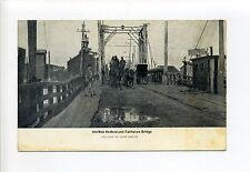 Old New Bedford & Fairhaven Bridge MA Mass people, bicycle, coach, shack, early