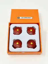 Set of 4 LE CREUSET Pot Protector Cerise Red Dutch Oven Gold Knobs Bumpers Clips