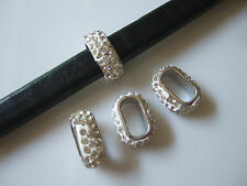 10pcs Crystal Rhinestone Spacers Beads For 10x6mm Licorice Leather Cord