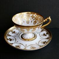 Dresden Demitasse Cabinet Cup Saucer Pedestal Hand Paint Gold Germany Antique