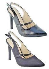 Ladies Black Patent Faux Suede High Stiletto Heel Slingback Court Shoes Size 3-8