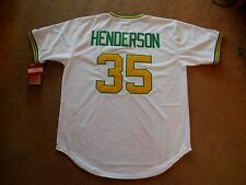 Rickey Henderson #35 Oakland A's STITCH P/O Baseball Jersey Men L TAGS NEW SHARP
