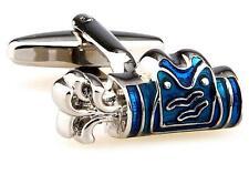 Golf Bag Cufflinks Silver Blue PGA Woods Wedding Fancy Gift Box Free Ship USA