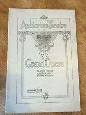 1911-1912 Chicago Civic Grand Opera Program Pagliacci Jewels Advertising
