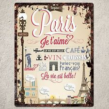 PP0117 Rust Handmade PARIS Sign Home Store Shop Cafe Interior Wall Decor Gift