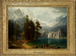 Old Master Art Vintage Landscape Waterfall Oil Painting Canvas Unframed 30x40