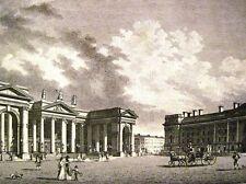 Antique Print BANK OF IRELAND Dublin Engraving 1817 Cadell Davies Vtg Irish