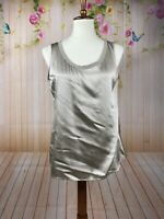 Eileen Fisher Champagne Ivory 100% Silk Tank Top Scoop Neck Size PM