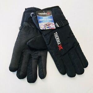 Insulated Therma Men's Gripper Wear Gloves, Black Faux Fur Lined 1 Size Fit Most
