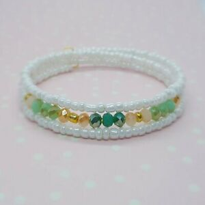 Simple Bead Layering Bracelet ~ White Aqua Green Gold ~ Perfect for Summer