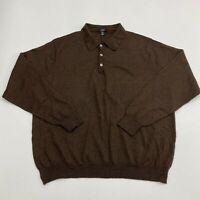 Alfani Lightweight Polo Sweater Men's 2XL XXL Long Sleeve Brown 100% Merino Wool