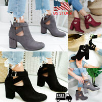 Women Lady Zipper Chunky Block Heel Ankle Boots Pointed Toe Buckle Casual Shoes