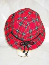 Red Plaid Hat W/ Brim Tie In Back Adjustable Drawstring Washable Lined Acrylic
