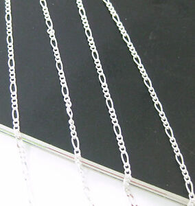MADE IN ITALY 925 sterling silver 1.5mm FIGARO CHAIN Necklace 35 to 60cm UNISEX