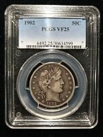 1902 P Barber Liberty Half Dollar PCGS VF25 Very Fine 50c Choice Rare Date