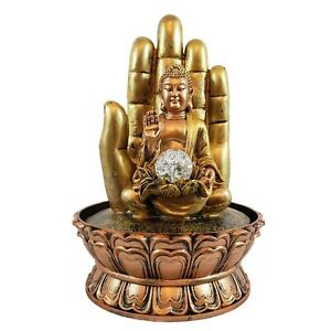 Fountain Buddha Meditating Tabletop Led Relaxing Waterfall Indoor Outdoor
