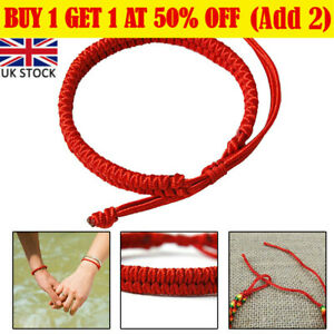 2PCS Authentic Tibetan Buddhist Bracelet Knot Lucky Rope Bangle Handmade Red RI