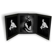 "New Triple 7x5"" Black Linen Folders Photo Cards Photo Mounts (pkt of 10)"