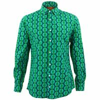 Mens Shirt Loud Originals TAILORED FIT Dots Green Retro Psychedelic Fancy