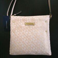 NWT Tommy Hilfiger Jacquard Purse Crossbody Shoulder Bag, Pale Pink TH Monogram