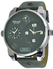 Omax N004P99A Men's XL Oversized Triple Time Zone Grey Band and Dial Watch
