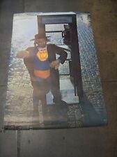"""JEWISH SUPERMAN TELEPHONE BOOTH POSTER HAMBURG FAMOUS FACES 23 1/2"""" x 36"""" 1967"""