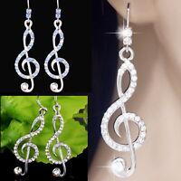 "#E520A Pair Pierced Hook Dangle Treble Clef Music Note Crystal Earrings 2"" New"