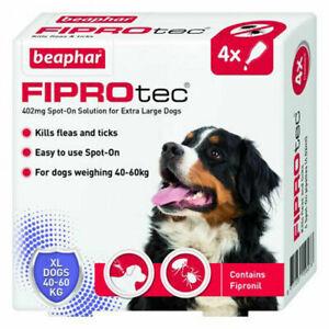 Beaphar FIPROtec Spot On Extra LARGE DOG 4 Pipette Treatment -Flea Tick Fipronil