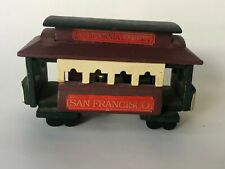 Vintage San Francisco Music Box Company Wood Trolley Car Green Wooden Pier 39