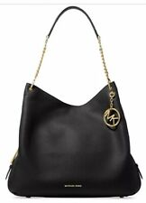 New Michael Kors Lillie Large Leather Shoulder Bag Tote Black Gold chain tote