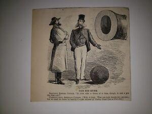 Civil War Great Britian England United States Cannon Ball 1864 Cartoon Sketch