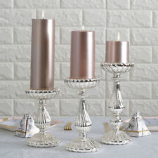 3 Silver Mercury Glass Pillar Candle Holders Wedding Party Events Decorations