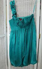 MONSOON One-Shoulder Silk Dress UK14 Boned Bodice Pleated Cocktail Party Dress