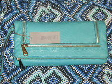 JLO JENNIFER LOPEZ NWT $59 BALTIC turquoise women's clutch purse zippers