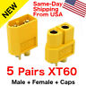 5 pairs XT60 XT-60 Male Female Gold Plated Bullet Connectors RC Lipo Plugs USA