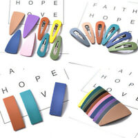 2PCS Geometric Snap Hair Clips Candy Color Hairpins Barrettes Hair Accessories