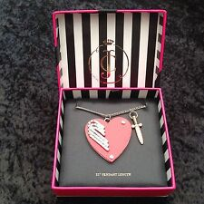 NIB Juicy Couture New Boxed Long Silver Diamante Heart & Dagger Pendant Necklace