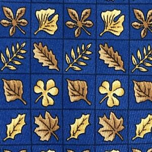 100% REAL HERMES TIE ~ BRIGHT BLUE w GOLD & BROWN FALL LEAVES CLOVER SHAMROCKS