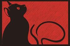 black cat in the rain MODERN ART POSTER animal BLACK RED unique 24X36 HOT