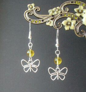 Pretty Butterfly and Yellow Quartz Bead Dangly Short Drop Earrings