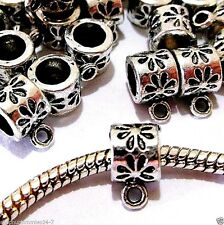 50 pc Lot EUROPEAN CHARM  DANGLE / PENDANT BAIL Antique Silver   L01
