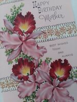 Lovely UNUSED Vtg ORCHIDS Happy BIRTHDAY MOTHER Embossed GREETING CARD NOS