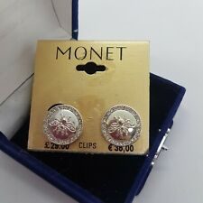 MONET Bumble Bee Clip-On Earrings Sparkly Round Silver Tone Statement Cute