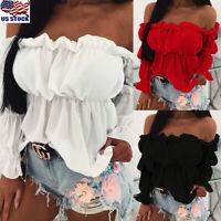 Women Summer Off Shoulder T Shirt Tops Loose Ruffle Frill Long Sleeve Blouse US